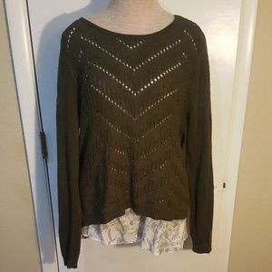 Apt 9 L  sweater blouse with overlay